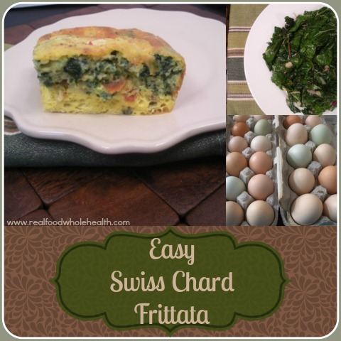 Swiss Chard Frittata, a real food recipe with bacon, garlic and cheese