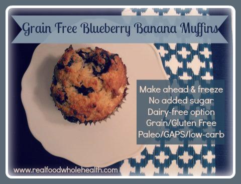 Gluten Free, Grain Free Blueberry Banana Muffins -